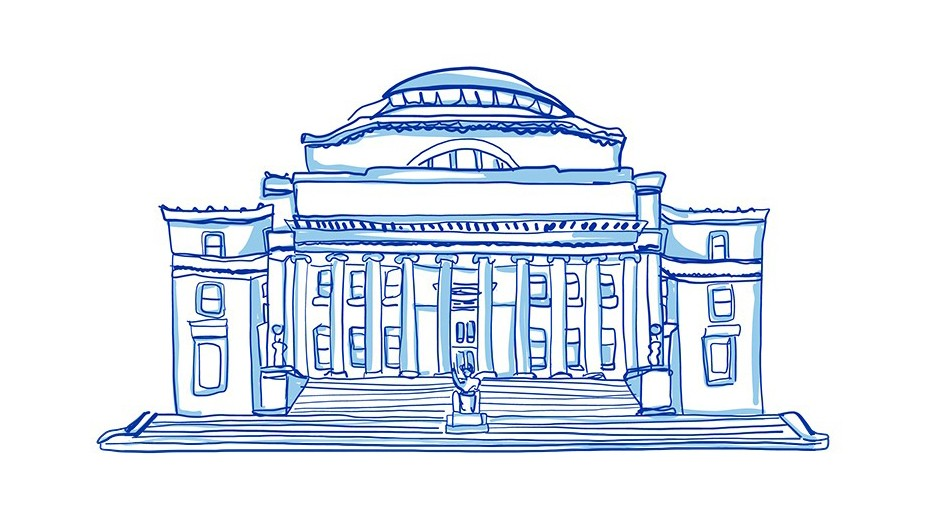 A line illustration of a large building with a rotunda and columns